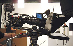 "The Red camera with a large Optimo lens works best with a 17"" on-camera prompter."