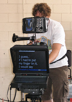 "Our 15"" prompter on a video shoot."