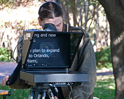 "We ran our 15"" hi-bright prompter system on battery power during this exterior video shoot."