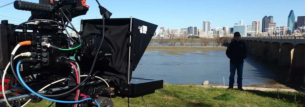 Video Shoot Prompter Dallas Skyline